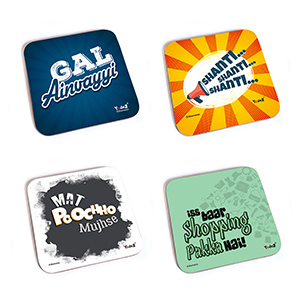 Bollywood Square Rubber Coaster - Women Collection 7 - Set of 4 ( Gal Ainvayyi+Shanti Shanti Shanti+Mat Poocho Mujhse+Iss Baar Shopping Pakka